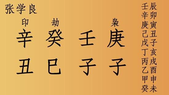 张学良八字分析,命硬、长寿、克父、克妻、克子!